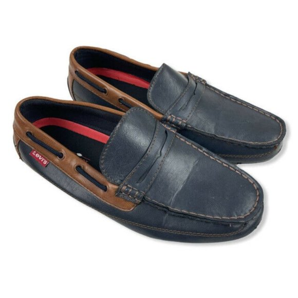 Levi's Comfort Mens Navy Blue Brown Boat Driving
